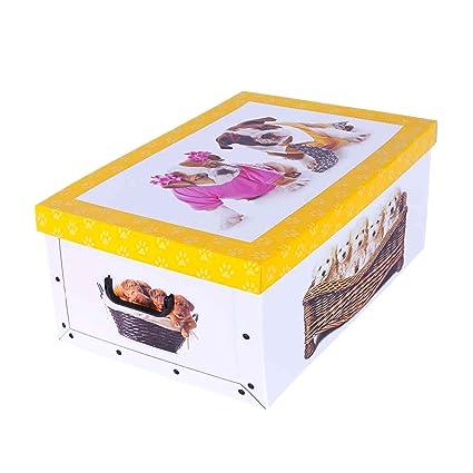 Caja para guardar ropa de cartón con diseño de cachorros, perros