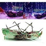 Landum, decorazione per acquario, a forma di relitto di barca affondata, stile casuale