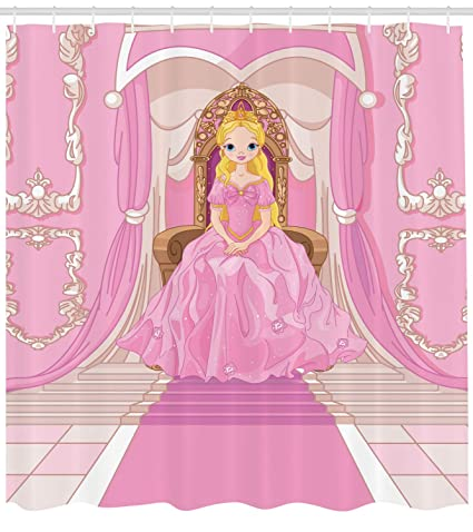 Lunarable Princess Shower Curtain Charming Sits On Throne In The Pink Hall Royal Palace