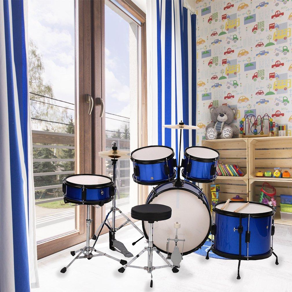BestMassage Drum sets Kids Children Complete 5-Piece Junior Drum with Adjustable With Blue