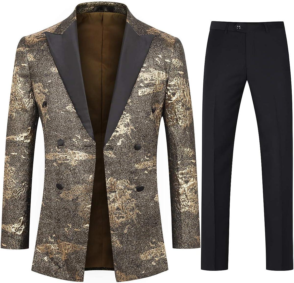 Boyland Men's Tuxedo Suits 2 Pieces Peak Lapel Double Breasted Golden Luxury Suit Jacket Pants