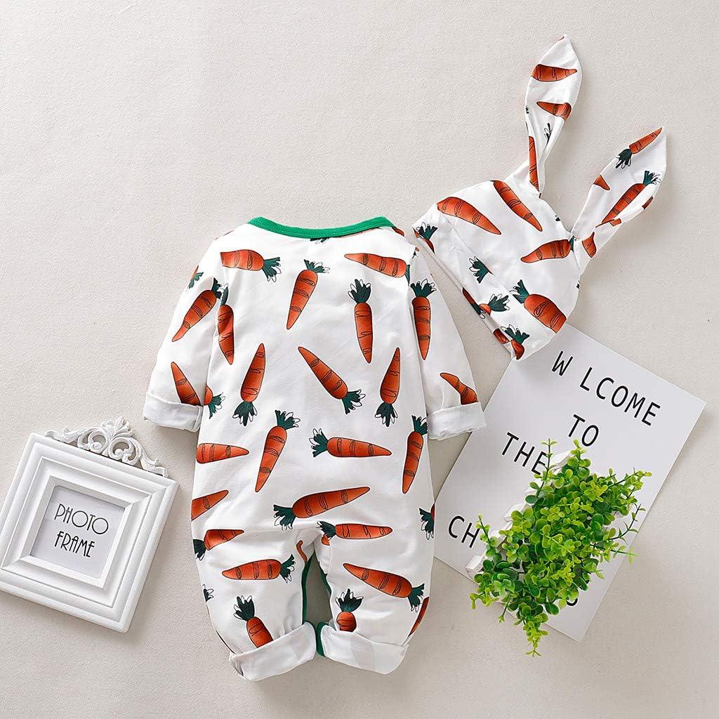 Rabbit Ears Hat Set general3 Infant Baby Boys/&Girls Cartoon Carrot Print Long Sleeve Romper Jumpsuit