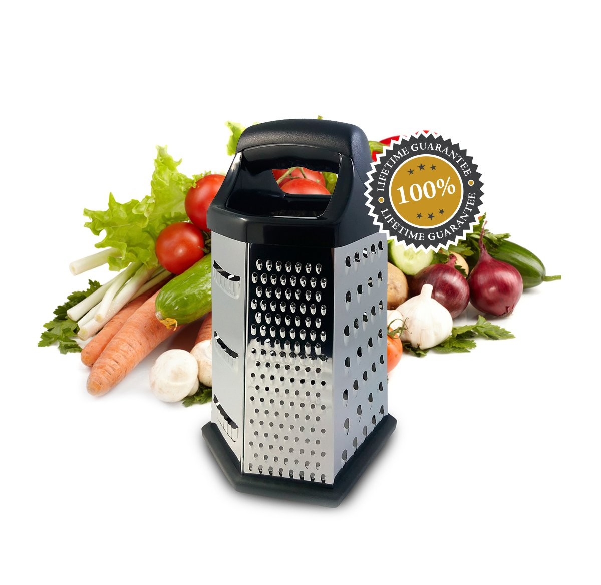 Isabella Dora Cheese Grater - Perfect Stainless Steel Box Grater for Vegetable, Ginger