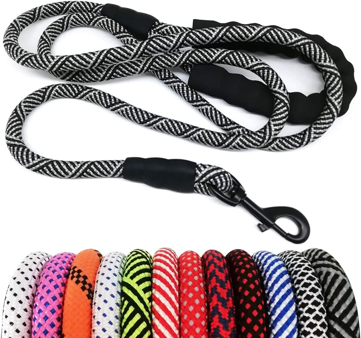 """MayPaw Heavy Duty Rope Dog Leash, 1/2"""" x 6FT Nylon Pet Leash, Soft Padded Handle Thick Lead Leash for Large Medium Dogs Small Puppy"""