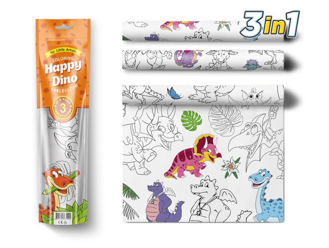 3 in 1 Large Coloring Tablecloth Water Resistant Poster for Kids and Toddlers Colorable Frame «Happy Dino» Fun Painting Activity for Party and Decor Paper Table Doodle Board by PolimerUnion