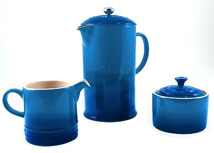 Le Creuset Marsella azul cerámica prensa francesa cafetera eléctrica con a juego color crema y azúcar