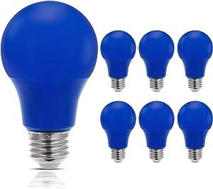 JandCase LED Blue Light Bulbs, 40W Equivalent, A19 Light Bulbs with Medium Base, 6 Pack