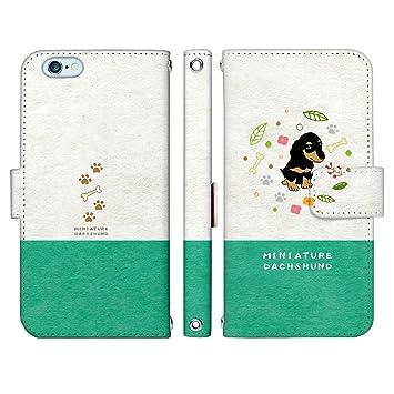 aaeab9ed9d Amazon | iPhone8 Plus 手帳型 ケース [デザイン:c.Green - 2.ミニチュア ...