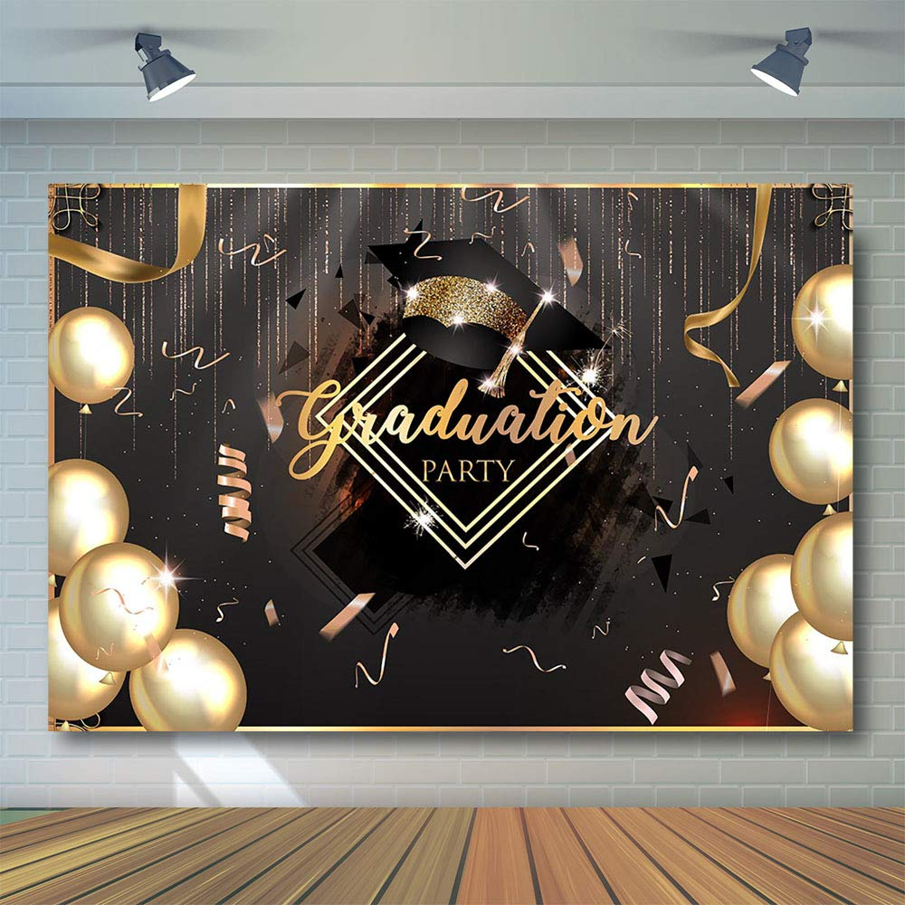 COMOPHOTO 7x5ft Graduation Party Photography Backdrops Class of 2019 Golden Glitter Balloon Decorations Photo Studio Booth Background Props