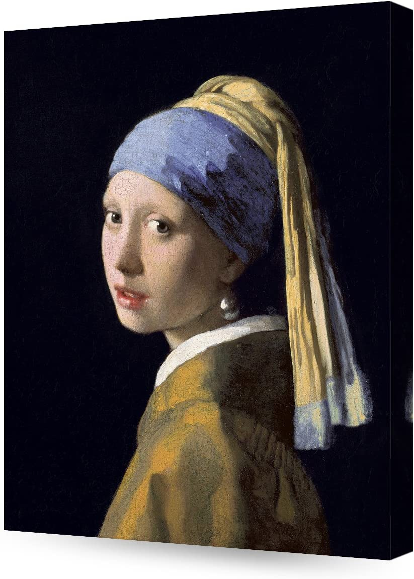 DECORARTS - Girl with A Pearl Earring, Johannes Vermeer Art Reproduction. Giclee Canvas Prints Wall Art for Home Decor 20x16