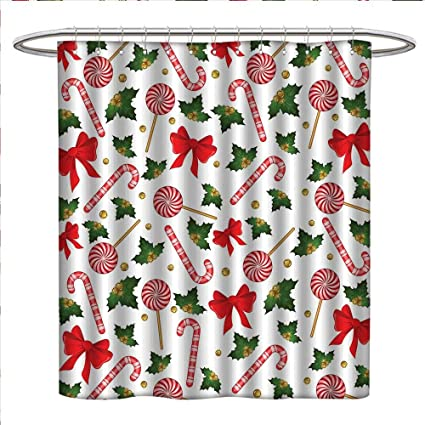 Bybyhome Candy Cane Shower Curtains Waterproof Holly Berry Mistletoe Traditional Red And White Patterned Sugary Food