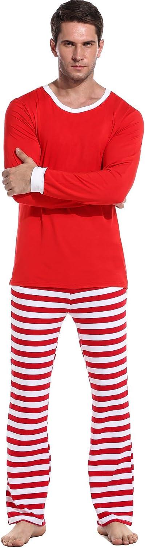 Avidlove Unisex Christmas Pajamas Long Sleeve and Stripe Bottoms Cotton PJs