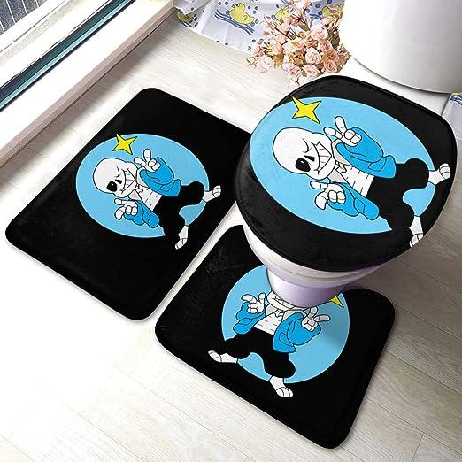 Amazon Com Tanny Note Game Undertale Characters Sans Bathroom Rug 3 Pack Bath Mat Set Thick Anti Skid Pads Bath Mat Contour Toilet Lid Cover Home Kitchen