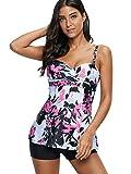 Zando Retro Floral Print Tankini Swimsuits for
