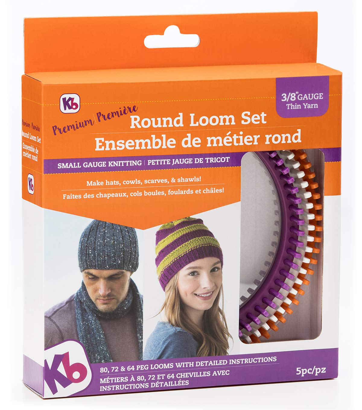 Authentic Knitting Board ' 'Premium' Round Loom Set, 3/8'' Gauge