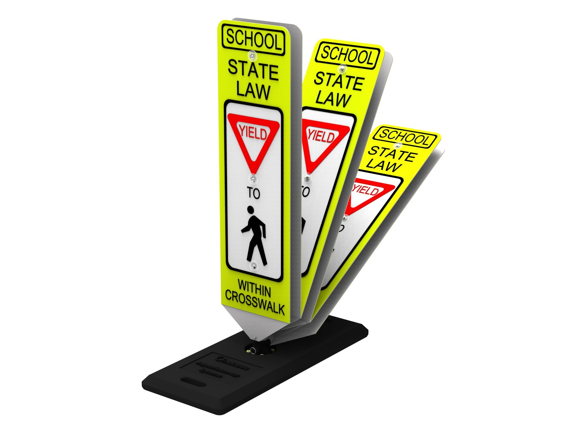 Impact Traffic - In-Street Pedestrian School Crosswalk Sign, Yield, with Portable Base - INDUSTRY BEST PERFORMER