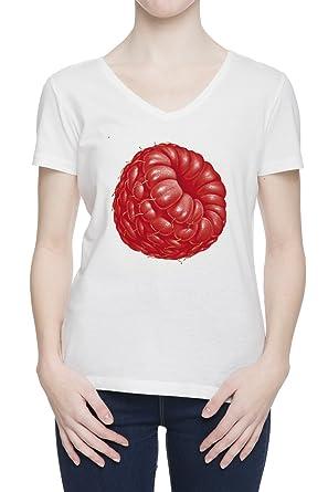 596b5713c543 Raspberry Women s White V Neck T-Shirt Top All Sizes  Amazon.co.uk  Clothing