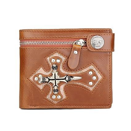 Yamyannie Crédito Tarjetas Billetera PU Personalidad Cruz Metal Decoración Cartera Mini Tarjeta Bolsa Delgada Cartera Bolso