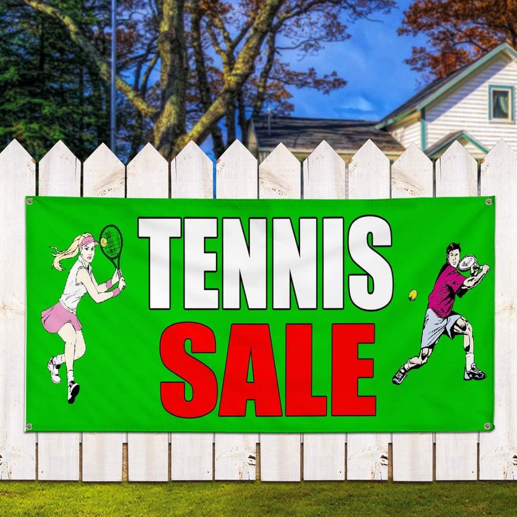 Multiple Sizes Available 24inx60in Set of 3 Vinyl Banner Sign Tennis Sale Green Business Sports Outlet Marketing Advertising Green 4 Grommets