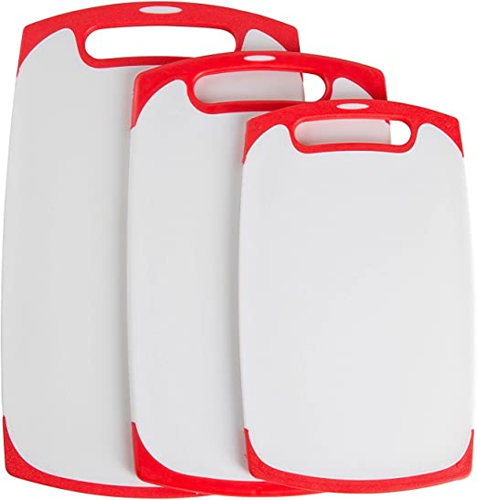 3-Piece Set - Plastic Cutting Boards Set BPA-Free and Dishwasher Safe by THETIS Homes Juice Grooves Kitchen Cutting Board
