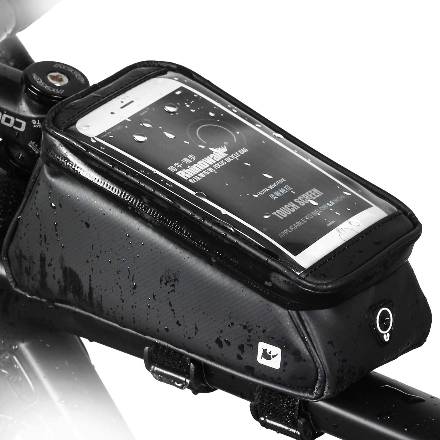 Rhinowalk Bike Phone Bag Bicycle Front Frame Bag Top Tube Bag Waterproof Handlebar Bag with 6 inch Touch Screen