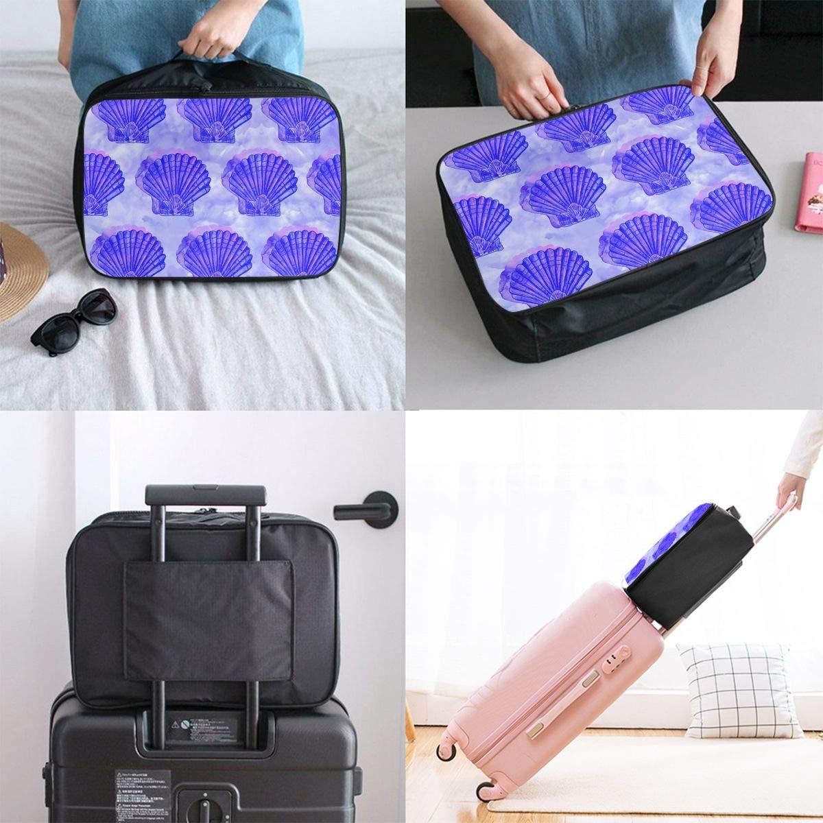 Travel Luggage Duffle Bag Lightweight Portable Handbag Purple Shell Pattern Large Capacity Waterproof Foldable Storage Tote