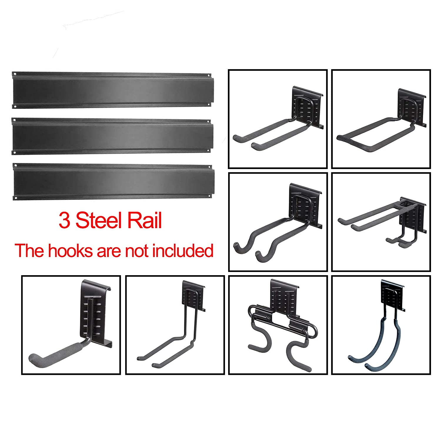 Ultrawall Garage Storage System, Steel Rail, Tool Organizer Track System for Utility Room, Basement, Shed and Garden Tool(3 Pack)