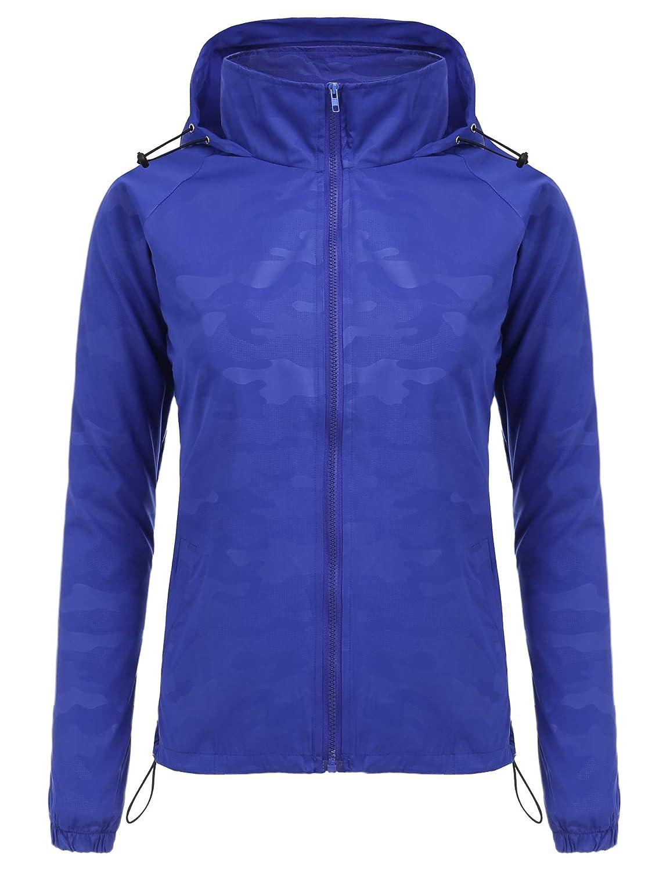 bluee FISOUL Women's Lightweight Jacket Packable Running Windbreaker Skin Jacket Hooded Waterproof Raincoat SXXL