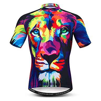 Men s Short Sleeve Cycling Jersey Bicycle Jacket Pockets Bike Biking Shirts  Top 3D Lion Multicoloured Size c3bdb5e0a