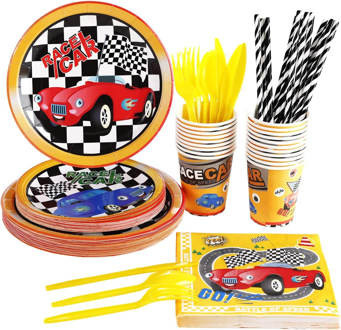 Racing Car Birthday Party Supplies Set For Boys, Serves 20 Guest, Monster Truck Party Supplies Packs, Includes Race Cars Plates, Cups, Napkins, Straws, Cutlery