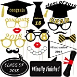 LUOEM 2018 Graduation Party Photo Booth Props Kit Class of 2018 Posing Props 2018 Graduate Party Supplies,Pack of 18 (No DIY Required)