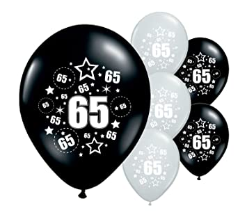 10 X 65th BIRTHDAY AGE 65 BLACK AND SILVER 12 HELIUM QUALITY PERALISED PARTY BALLOONSPA Amazoncouk Toys Games