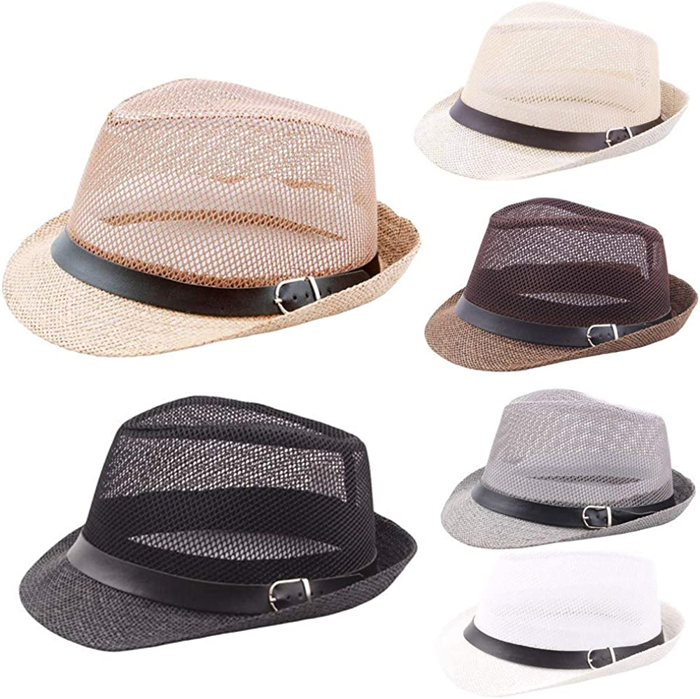 Yomiafy Unisex Mesh Breathable Straw Hat Outdoor Jazz Sun Hat Fedora Hat with Belt Buckle