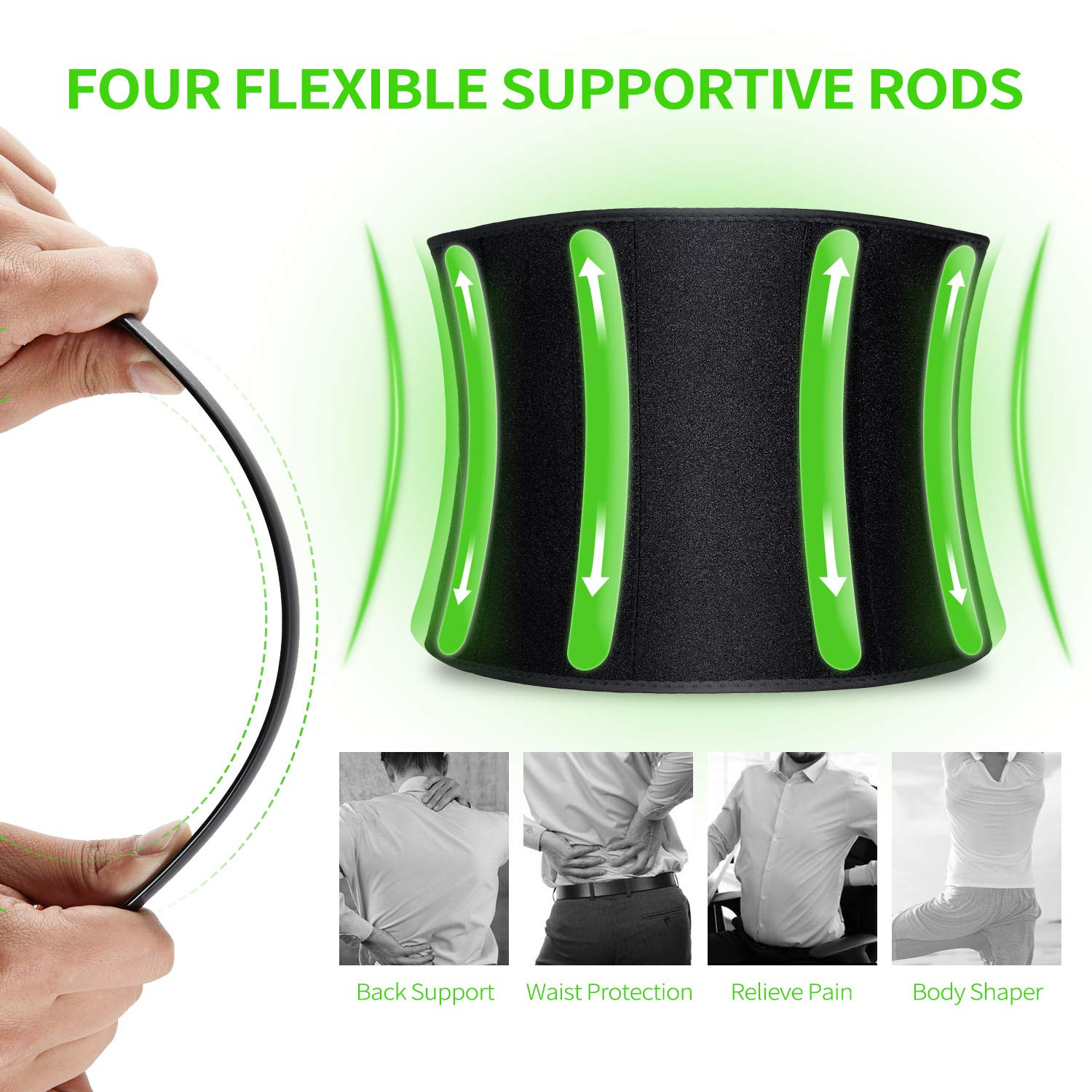 VOHUKO Waist Trimmer for Men,Widening Sweat Belt for Weight Loss,Improving Material Waist Trainer with Flexible Back Support for Fitness