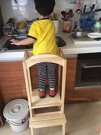 Niños Silla De Madera Taburete de aprendizaje ayudante de cocina DIY ...