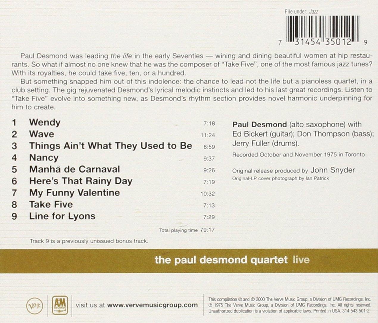 Paul Desmond Quartet Live by Polygram