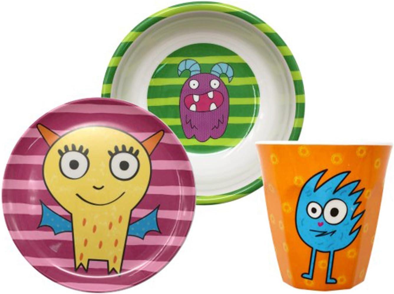 Gimex Set Vajilla Infantil Monster, Vajilla Infantil niño y niña 3 ...