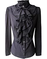 Y&Z Shirts For Women Stand-Up Collar Vintage Victoria Ruffle BS02