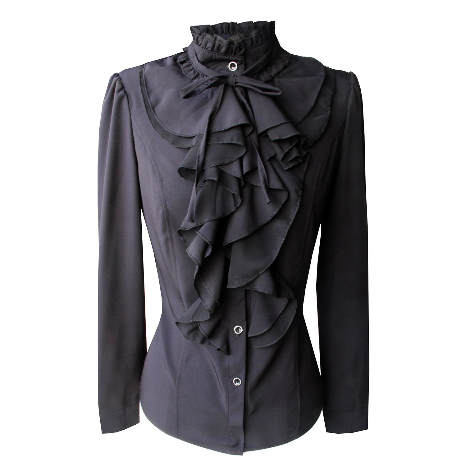 Y&Z Shirts For Women Stand-Up Collar Vintage Victoria Ruffle Long Sleeve BS02 (M, BS02-Black)