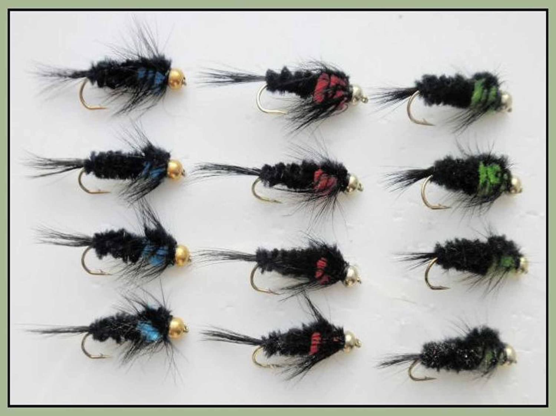 Montana Trout Flies Mixed 10//12 12 Pack Goldhead long Shank Green Montana