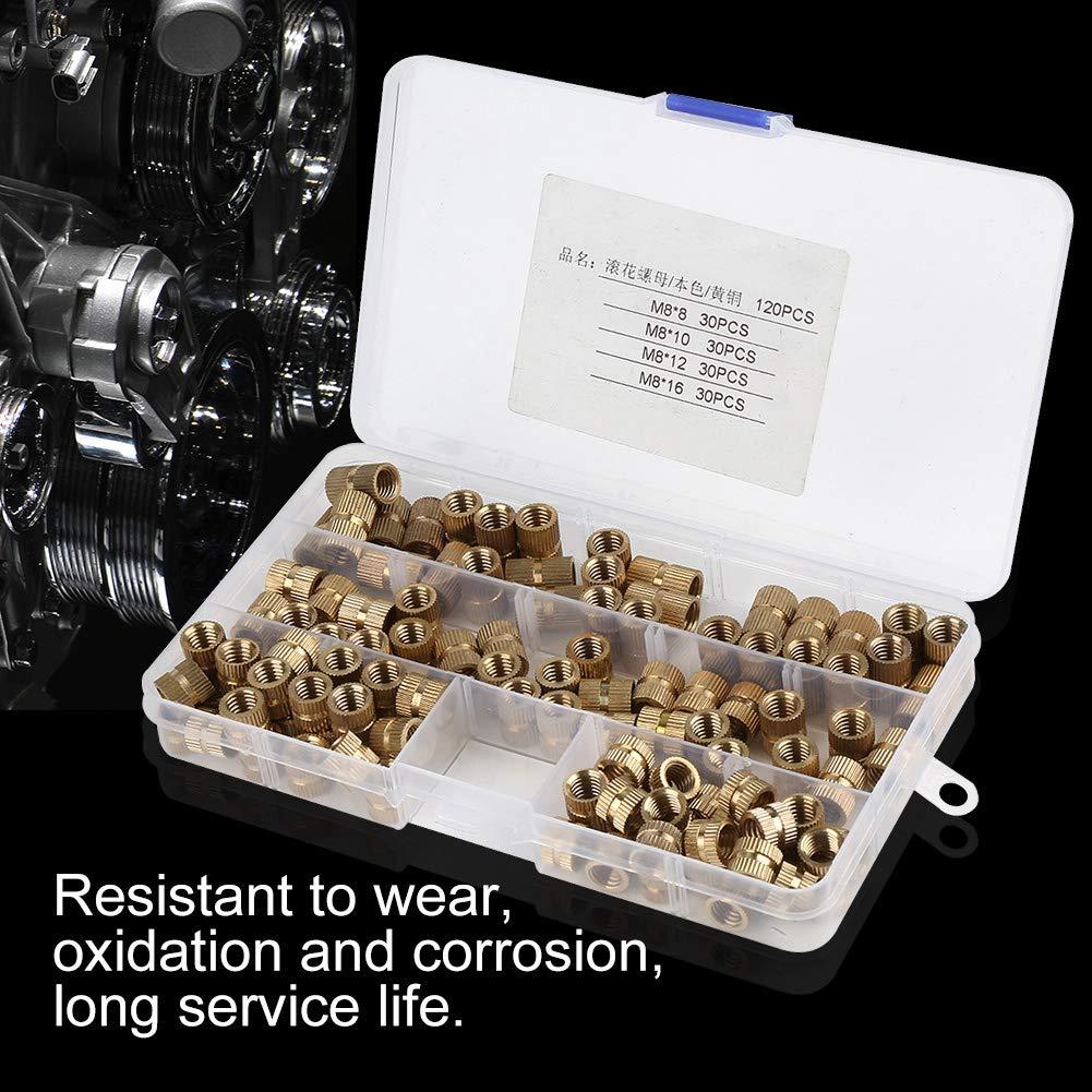 120 St/ück M8 Messingzylinder R/ändelmuttern mit Gewinde und rundem Einsatz R/ändelmutter