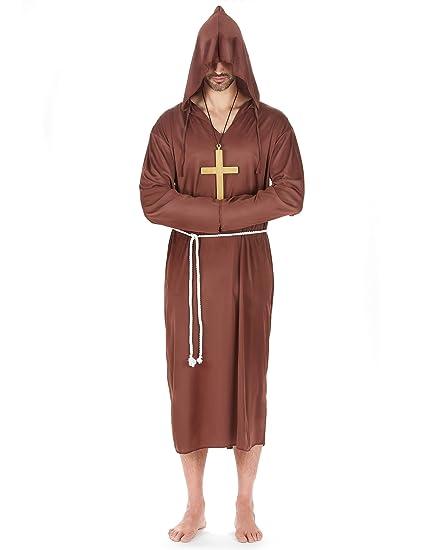 Desconocido Disfraz de monje para hombre: Amazon.es ...