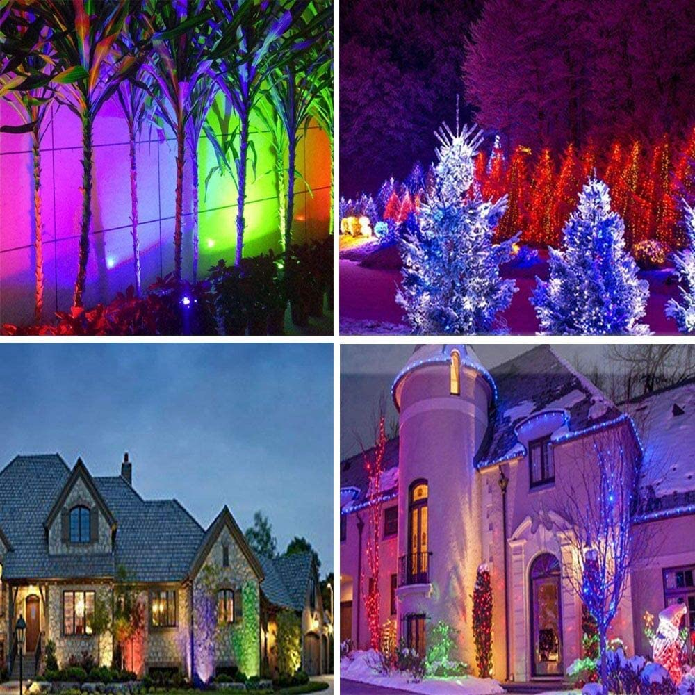 6Pack RGB Color Changing Landscape Lights 6W Outdoor LED Low Voltage Garden Landscape Spotlights 2 Remote Controls 16 Colors and 4 Changing Modes for Yard Party Decoration