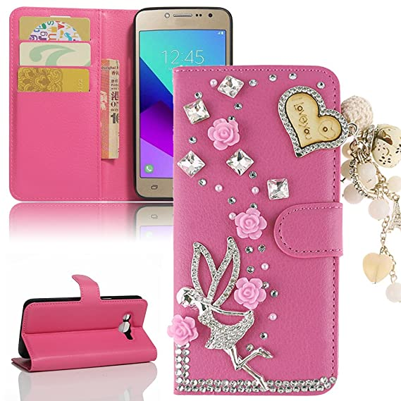 new style f4210 0d86c Galaxy J2 Prime G532 Case, Galaxy Grand Prime Plus Case, Luxury Bling  Diamond PU Leather Flip Stand Wallet Case Card Slot Cover For Samsung J2  Prime ...