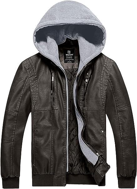 Amazon.com: Wantdo - Chaqueta de piel sintética con capucha ...
