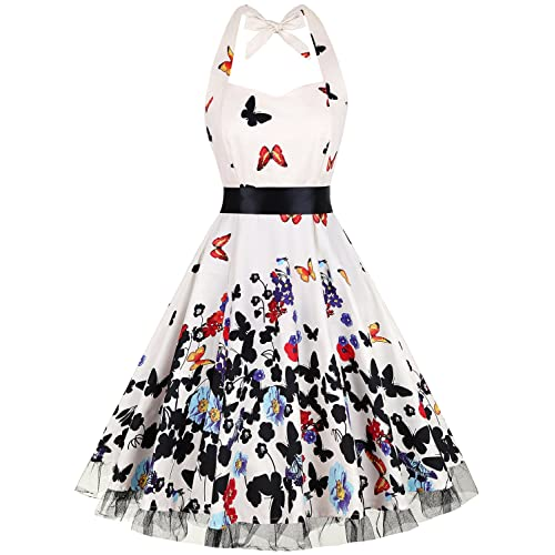OTEN Vintage Dresses, Women Floral Print 1950s Rockabilly Halter Swing Dress
