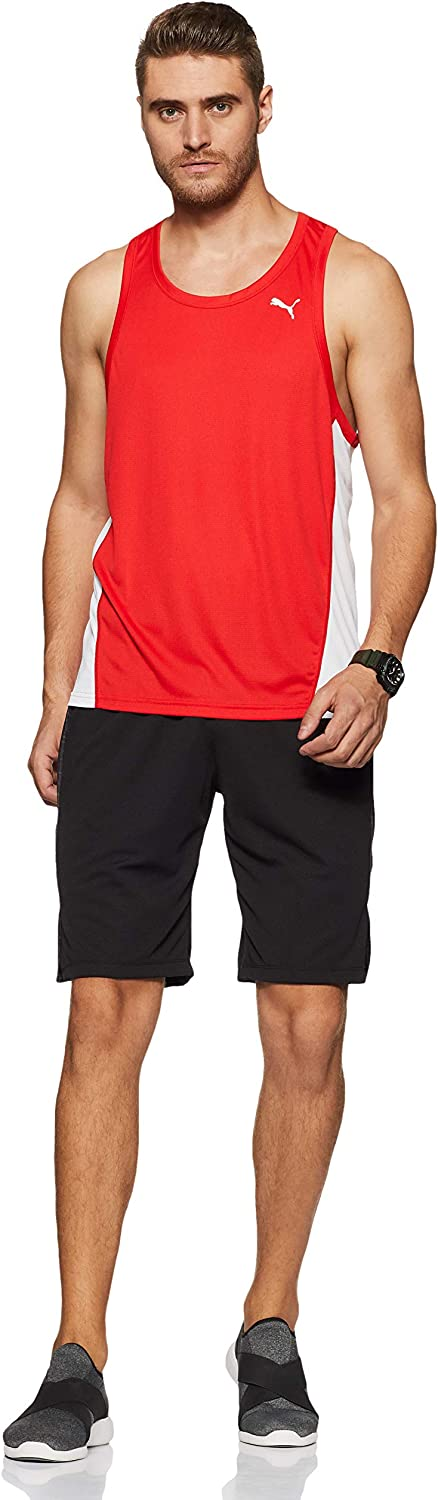 Puma Men's Cross the Line Singlet Tanktop Puma Red-puma White