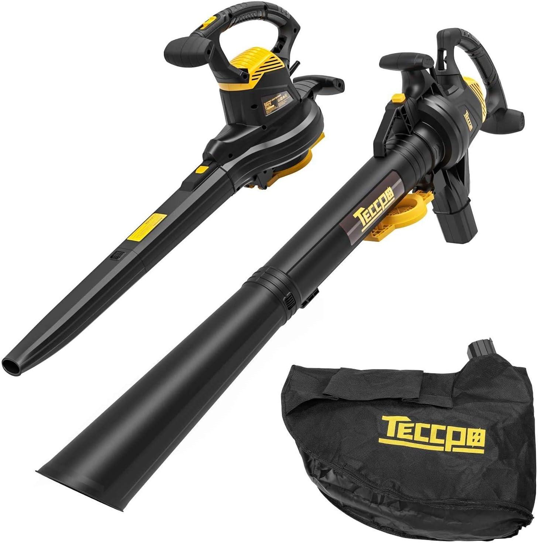 TECCPO 3-en-1 Soplador de Hojas Con Cable, Aspirador, Triturador Eléctrico, 3000W, 11000/14000 RPM, Velocidad de 210-350 km/h, 13m³/min, Relación de Trituración 16:1, 40L Bolsa - TABV01G