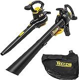 TECCPO 3-en-1 Soplador de Hojas Con Cable, Aspirador, Triturador Eléctrico, 3000W, 11000/14000 RPM, Velocidad de 210-350…