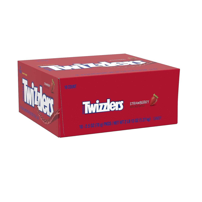 Twizzlers Halloween Candy, Licorice Candy Bulk, Strawberry Twists, (2.5 oz packs, 18 ct. )